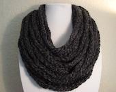 Dark Gray Crochet Chain Infinity Scarf - Neck Warmer