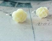 Ivory Rose Flower Clip on Earrings