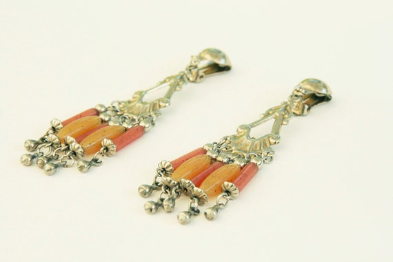 Vintage chandelier earrings, clip on, c.1980 orange and yellow plastic, from dead stock