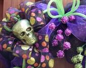 Halloween Deco Mesh Wreath with Multi-Colored Skulls