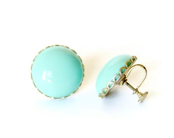 Aqua Dome Earrings Screw Back Vintage 1950s - FREE US SHIPPING