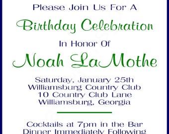 Kelly Green & Navy Blue Monogrammed Birthday Invitation
