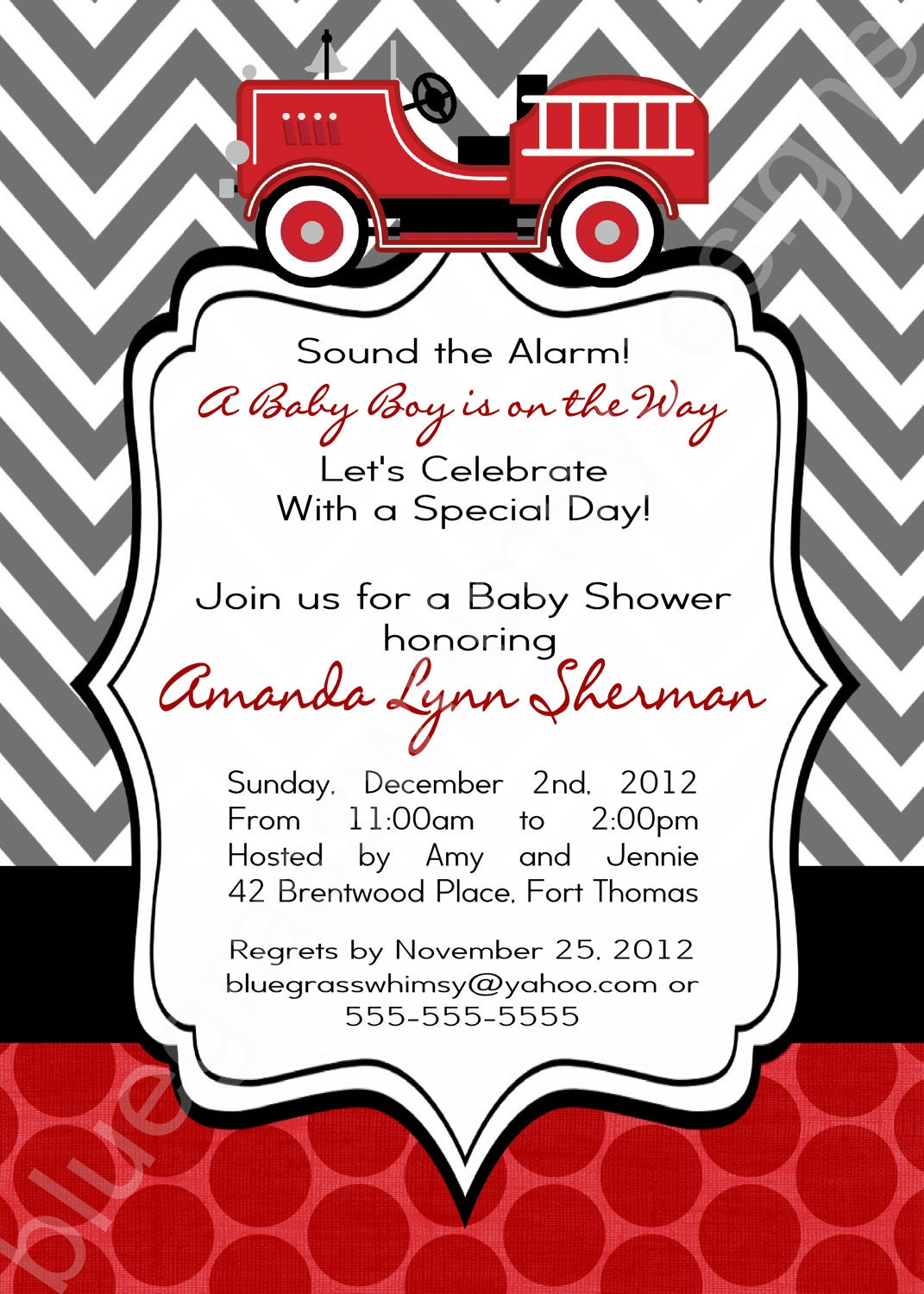 Firetruck Baby Shower Invitation for a Baby Boy red black