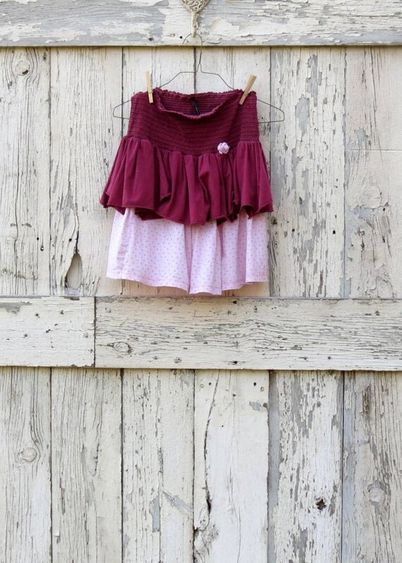 Berry Pretty Pixie Skirt-Halter upcycled boho conversion skirt eco friendly smocked halter top pink