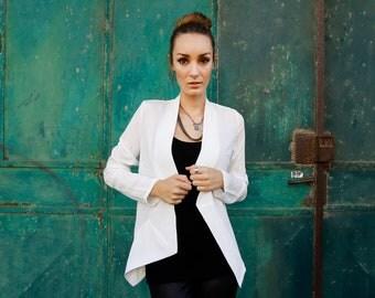 White Jacket, Asymmetrical top, white blazer, open cardigan, long sleeves top, geometric top, loose fit, elegant jacket, modern, minimal