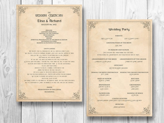 Retro wedding program order of service by designedwithamore for Wedding ceremony order of service template free