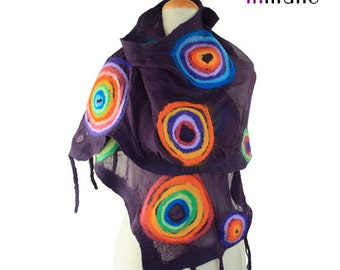 SALE!!!  nuno felted scarf, violet and multicolour circles (rainbow) - silk felt wool, felted fairy shawl, artistic wearable art