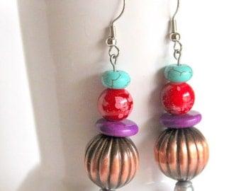 Antique Copper pumpkin earrings