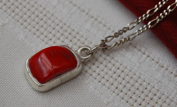 Red Coral Sterling Silver Penant necklace