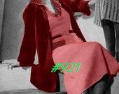 Vintage 1935  Cruise 2 Piece Knit Dress Suit & Crochet Coat 921 PDF Digital Knit Crochet Pattern