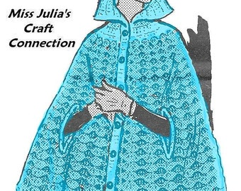 A BEST Vintage Lovely Lace & Shell Cape w Cap Miss Plus Size 336 PDF Digital Crochet Pattern