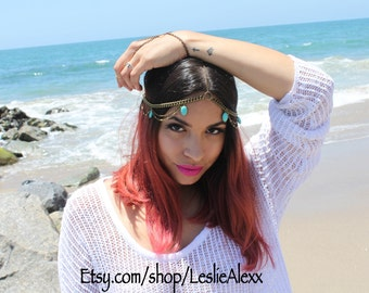 Lex. Turquoise beaded chain head piece in bonze