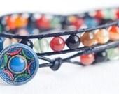 Multicolor Agate Leather Wrap Bracelet, OOAK, Double Wrap Bracelet, Vintage Button, Boho, Chic, Le Chapeau Bleu