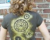 Gear Me' Hand stamped Steampunk T-shirt