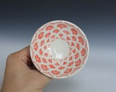 SALE Small Ceramic Bowl with Slip Trailed Pattern in Coral and White, Wheel Thrown Porcelain OOAK