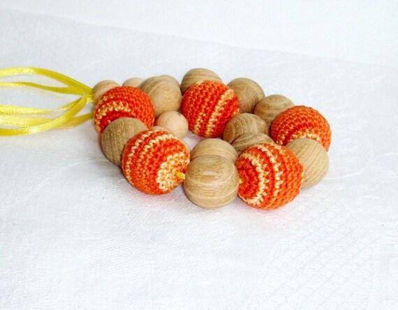 SALE Nursing Teething Necklace Orange  Breastfeeding -  Wrap Baby Carrier Sling Accessory - Tangerine pumpkin