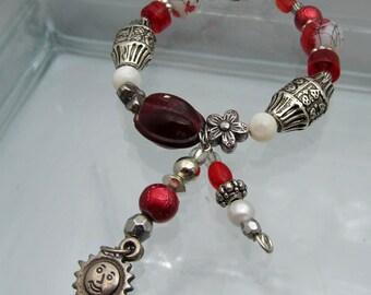 Toggle Beaded Bracelet Red & White Silvertone Sun Dangle Charm Bracelet Circle Toggle Clasp