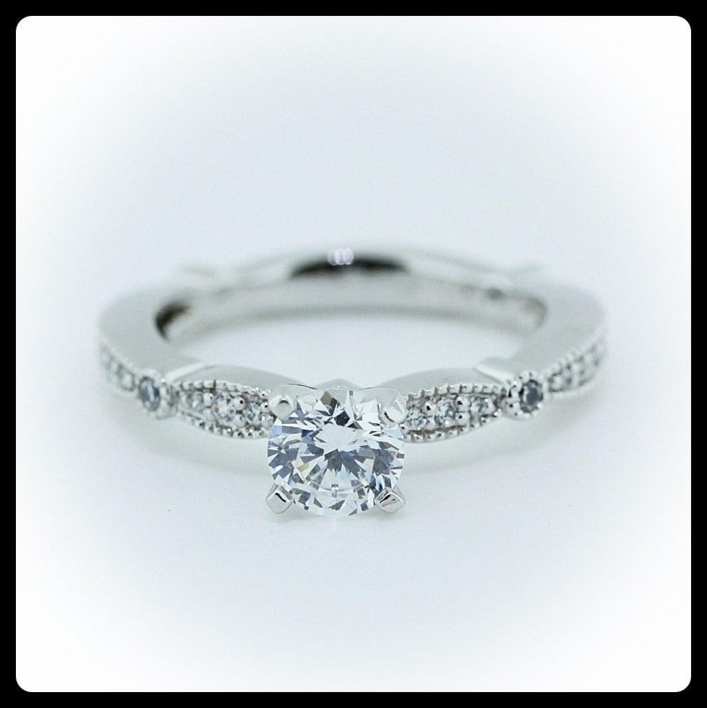 Moissanite Vintage Engagement Ring Diamond Side Stones Name