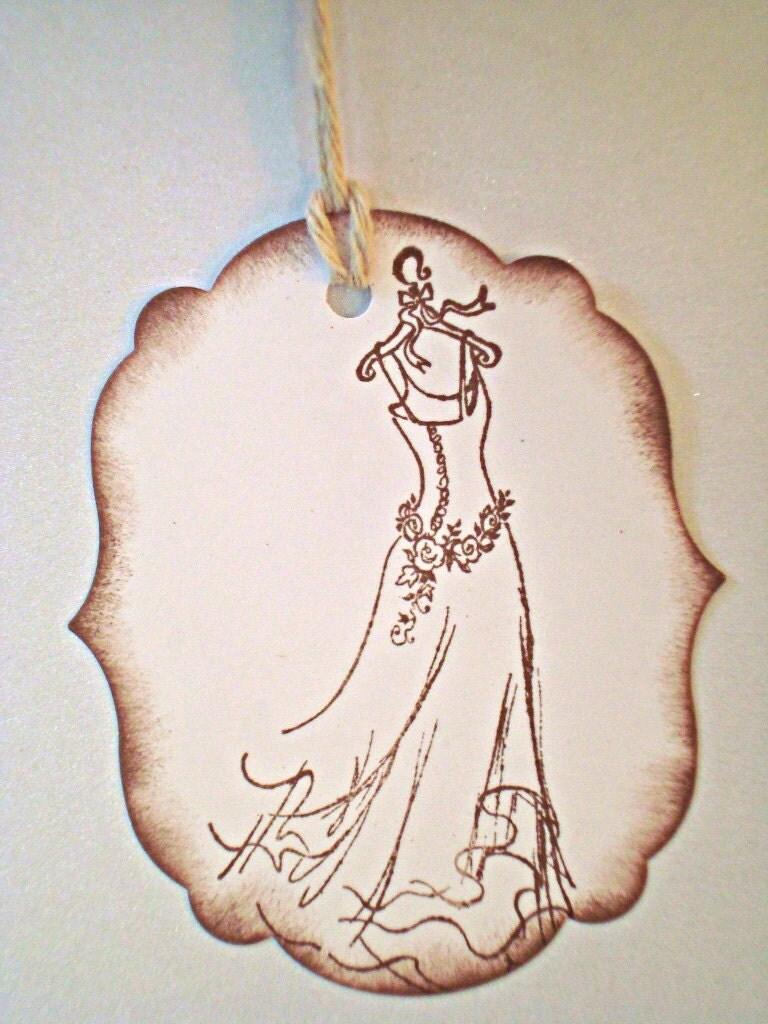 Handmade Wedding Gift Tags : Handmade gift tags Elegant Wedding Dress Vintage Look