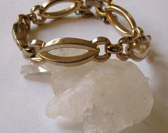 Vintage 1950's Monet Gold Marquis Deco Link Bracelet