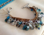 Dusky Canyon Leather Dangle bracelet - leather & sterling silver with gemstone and crystal dangles - handmade OOAK