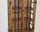 Rustic Iron and Wood Liquor Cabinet