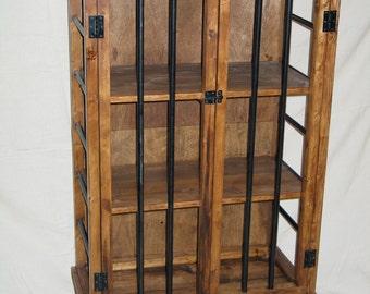 Liquor Cabinet, Rustic Iron and Wood