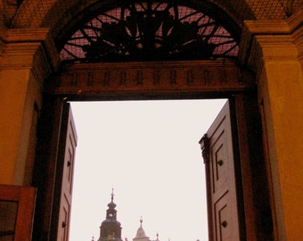 Krakow, Poland. View of Town Square from Inside Church. Door. Sunset. Old Town. Orange. Pink. Pastels. Wall Art. Home Decor. Girls Room.