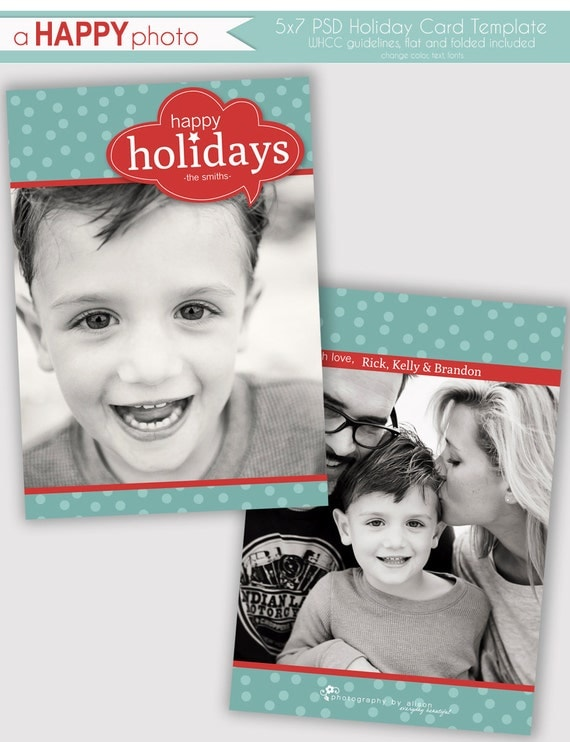 items similar to word bubble holiday photo card template photographers psd whcc 5x7 flat. Black Bedroom Furniture Sets. Home Design Ideas