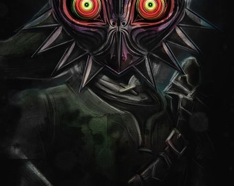 Legend of Zelda Majora's Mask Link Painting - signed museum quality giclée fine art print