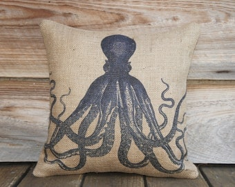 Blue Octopus Pillow, Throw Pillow, Nautical Cushion, Beach Decor, Accent Pillow, Beige