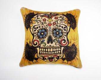 Sugar Skull Pillow Cover, Sunflowers, Throw Pillow, Halloween Decoration, Day of the Dead, Día de los Muertos,