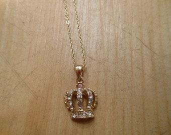 Gold Crown Necklace - Gold Rhinestone Crown Necklace