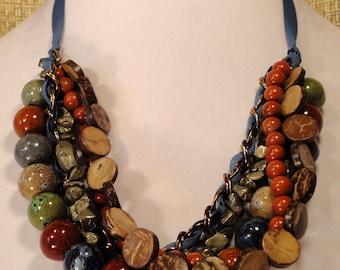 Dark Multicolor Ribbon and Bead Necklace