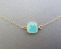 Dainty necklace, Aqua blue necklace, bridesmaid necklace, bridal jewelry, summer jewelry