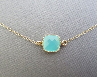 Dainty necklace, Aqua blue necklace, bridesmaid necklace, bridal jewelry, summer jewelry