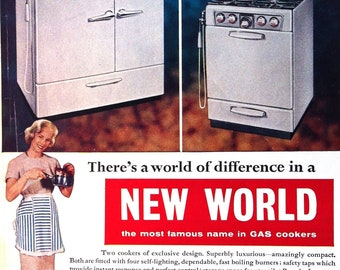 1950s New World COOKER with HOUSEWIFE and FABLON Plastic Finishes Doublesided Print