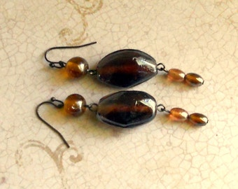 SALE Earth Tone Dangle Earrings - Chunky Brown Beaded Dangles - Antique Bronze  - Bead Drop - Fashion Jewelry - Free Shipping