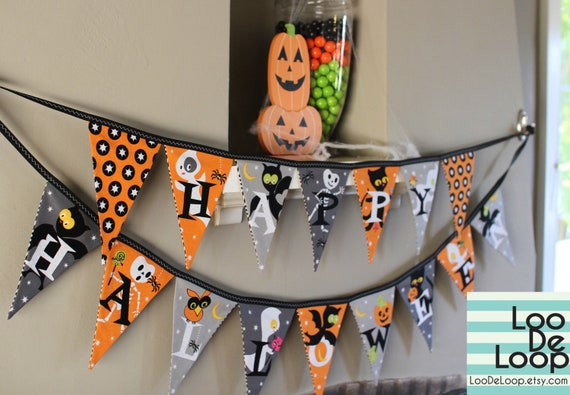 """Spooky """"Happy Halloween"""" Set of 2 Fabric Buntings Banners"""