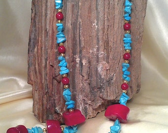 Stunning beautiful red coral and blue turquoise chip necklace with gold filigree beads
