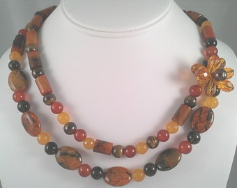Perfect Stylish Autumn Double Stranded Offset Statement Necklace for all occassions.