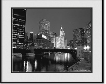 Chicago Artwork - Chicago Bridges & Chicago River - Black and White Photography, Photograph
