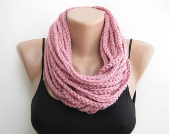 Pink crochet chain scarf,cowl,neck warmer, infinity scarf