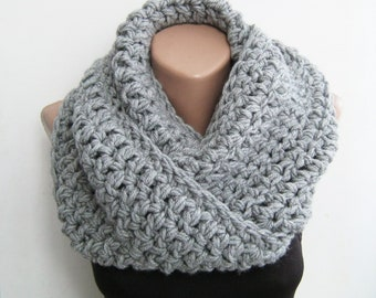 Gift Gray Scarf, Mens Scarf Gift, Loop Crochet Scarf, Handmade Wrap Gray, Top Knit Long, Top Selling Gift, Best Seller Accessory Wool Chunky