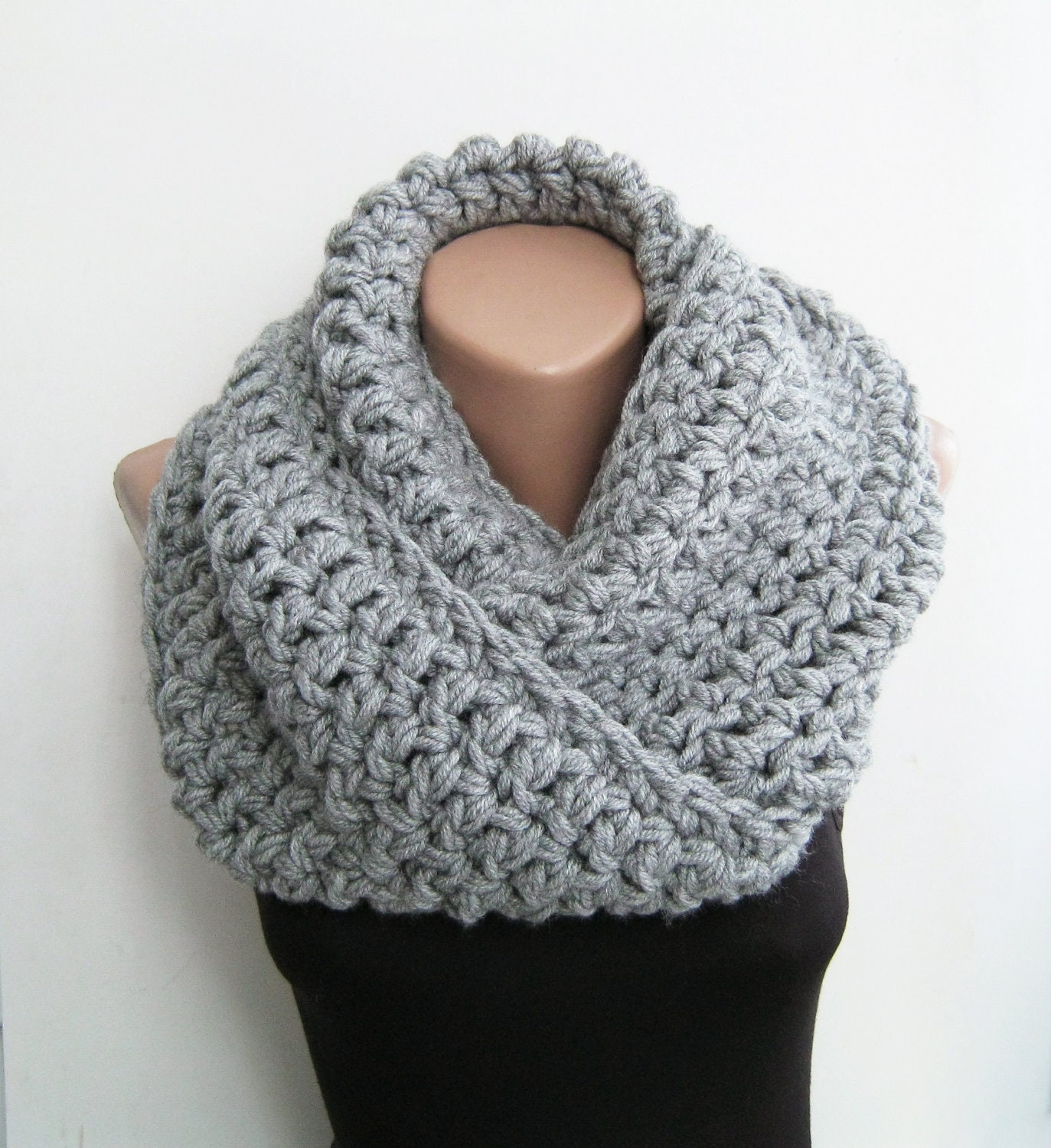 Knitted snood gray chunky scarf crochet infinity by sascarves