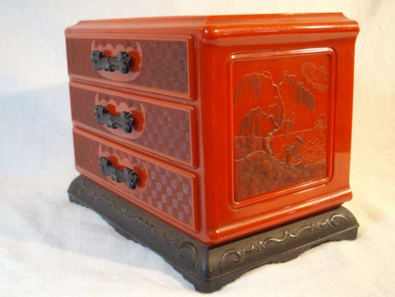 Bakelite,Celluloid Red Dragon Prosperity House Jewel and Trinket Box, Dragon Drawer Pulls, Scenes on sides and Top, Flawless and Beautiful
