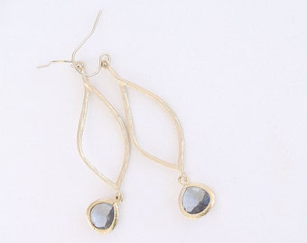 Gray and Gold Marquise Earrings - Charcoal Black Diamond Drop - Gray Earrings on Gold Filled Earwire - Faceted Earrings