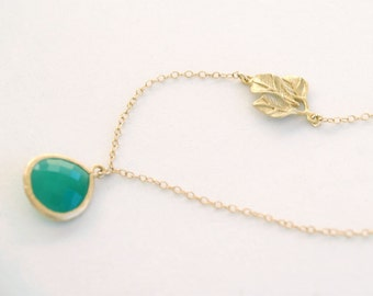 Kelly Green Stone Necklace with Leaf Accent - Gold Filled Chain - Assymmetrical Palace Green Stone, Fall Jewelry, Leaf Necklace