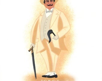 Poster Hercule Poirot Agatha Christie in beige travel suit from an Original painting