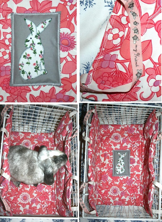soft carrier liner for rabbits quilted pink and white retro floral printed cotton fabric - the Bun-velope